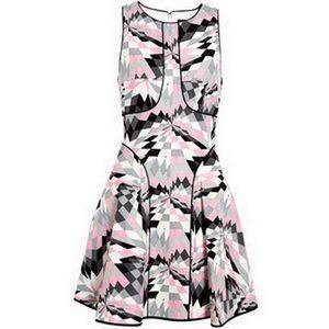 Tibi Black White & Grey Isosceles Night Out Dress